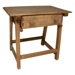 "19th Century Spanish One Drawer Pine Wood ""Tocinera"" Baking Table"