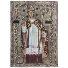 19th Century Spanish Painted Embossed Brass Plaque of Pope