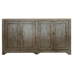 19th Century Spanish Painted Gray Four Door Buffet with Shelf and Marble Top