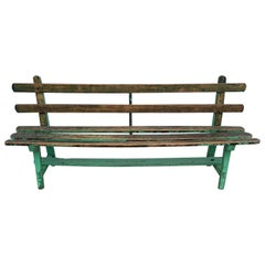 19th Century Spanish Painted Green Wooden Slat Back Bench