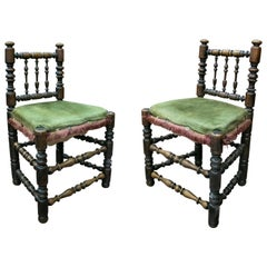19th Century Spanish Pair of Chairs with Turned Feet and Velvet Upholstered Seat