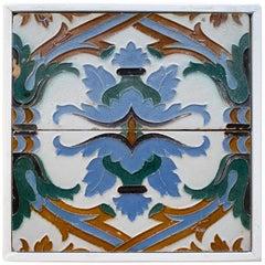 "19th Century Spanish Pair of ""Cuerda Seca"" Colored Glazed Ceramic Tiles Framed"