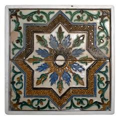 "19th Century Spanish Pair of ""Cuerda Seca"" Coloured Glazed Ceramic Tiles Framed"