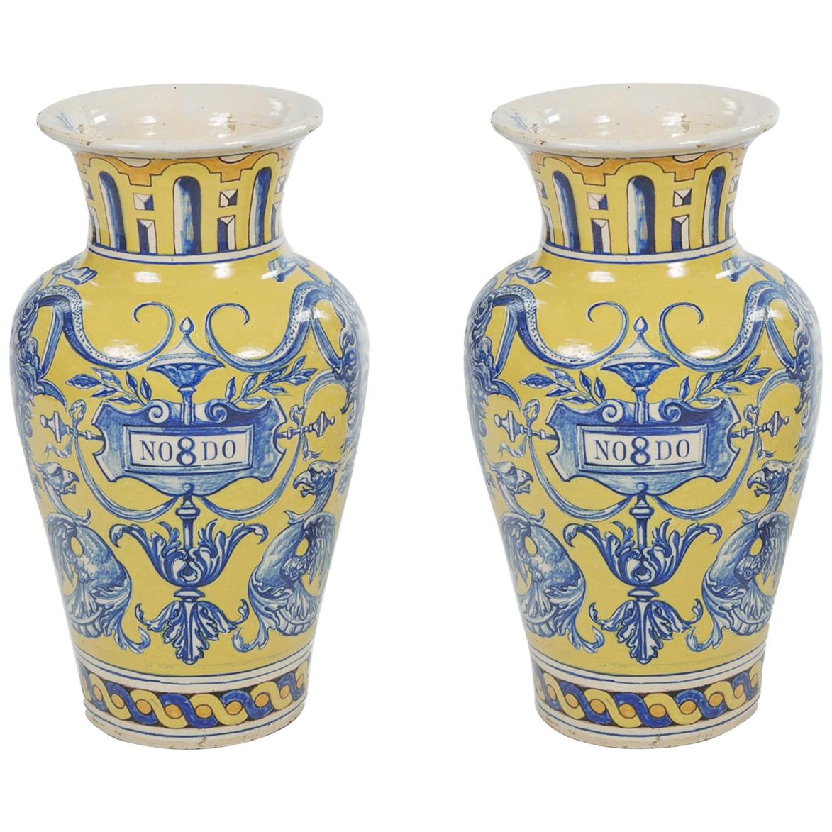 19th Century Spanish Pair of Urns, Talavera Dela Reina Pottery, Stamped 1899