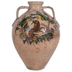 19th Century Spanish Puente del Arzobispo Glazed Ceramic Jar