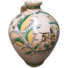 19th Century Spanish Puente del Arzobispo Glazed Ceramic Vase