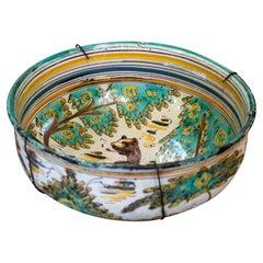 "19th Century Spanish ""Puente del Arzobispo"" Painted Glazed Terracotta Bowl"