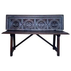 "19th Century Spanish Renaissance Carved Walnut Bench Banquette ""Escaño"""