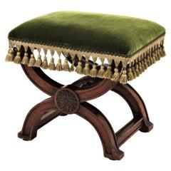 19th Century Spanish Renaissance Curule Walnut Stool in Green Velvet Upholstery