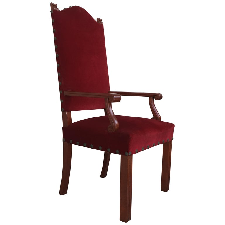 19th Century Spanish Revival High Back Armchair with Red ...