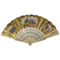 19th Century Spanish School Gold and Silver Paper and Bone Linkage Fan