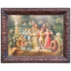 19th Century Spanish Serenade Painting on Board in Original Carved Frame