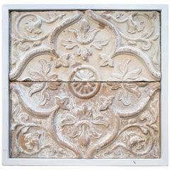 19th Century Spanish Set of 2 Framed Low-Relief Ceramic Tiles