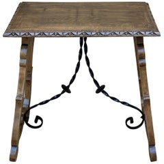 19th Century Spanish Side Table with Hand Carved Lyre Leg and Iron Stretcher