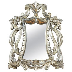 19th Century Spanish Silver Leaf Carved Wood Wall Mirror