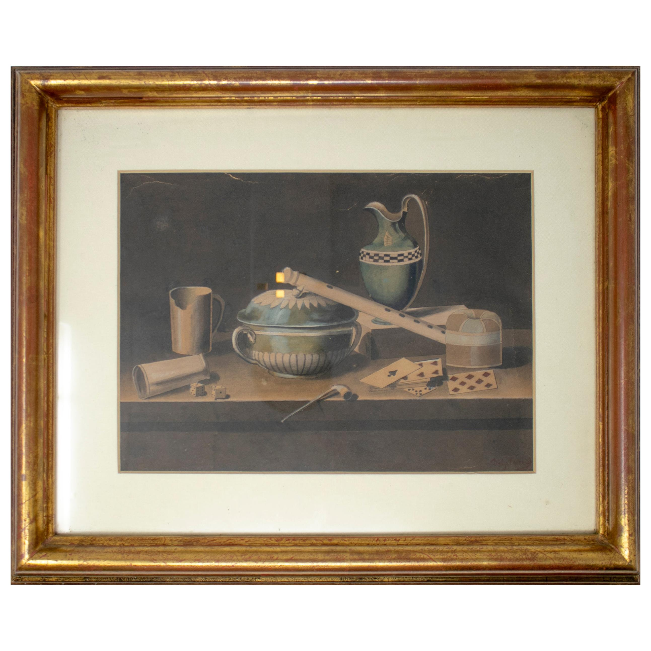 19th Century Spanish Still Life Painting with Dices and Cards