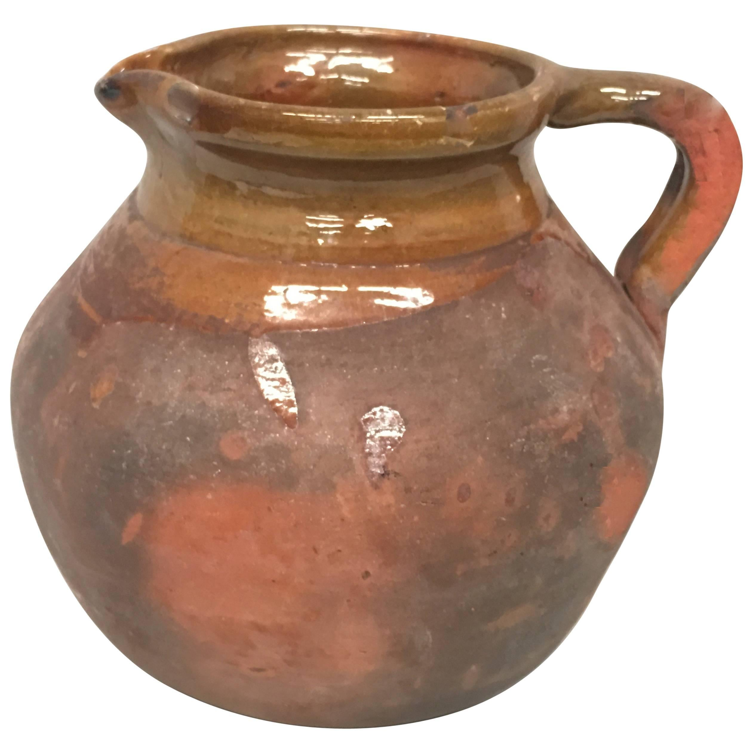 19th Century Spanish Stoneware Terracotta Jug or Pot with Handle