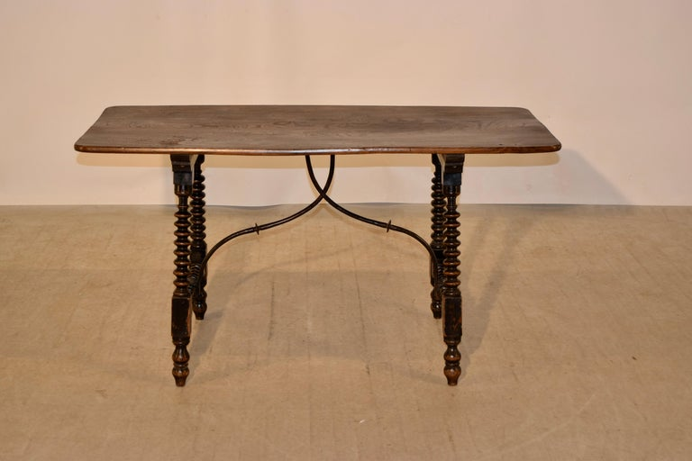 Spanish Colonial 19th Century Spanish Table with Iron Stretcher For Sale