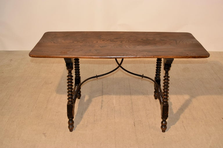 19th Century Spanish Table with Iron Stretcher In Good Condition For Sale In High Point, NC