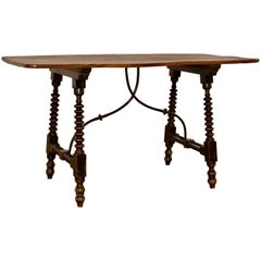 19th Century Spanish Table with Iron Stretcher