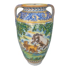 19th Century Spanish Talavera Porcelain Vase with Animals and Horse Rider Scenes