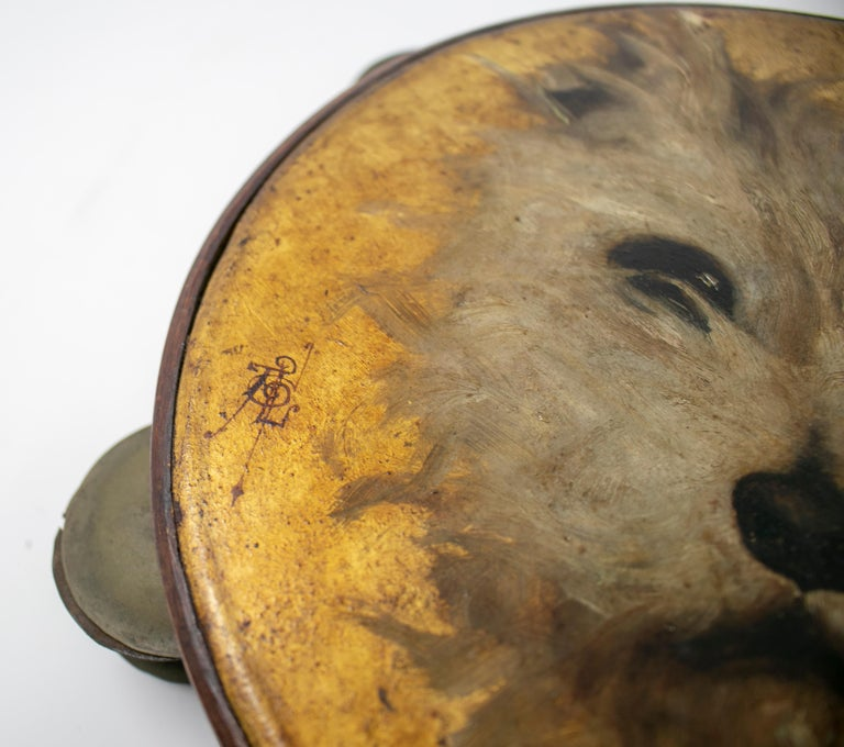 Metal 19th Century Spanish Tambourine with Hand Painted Dog Face For Sale
