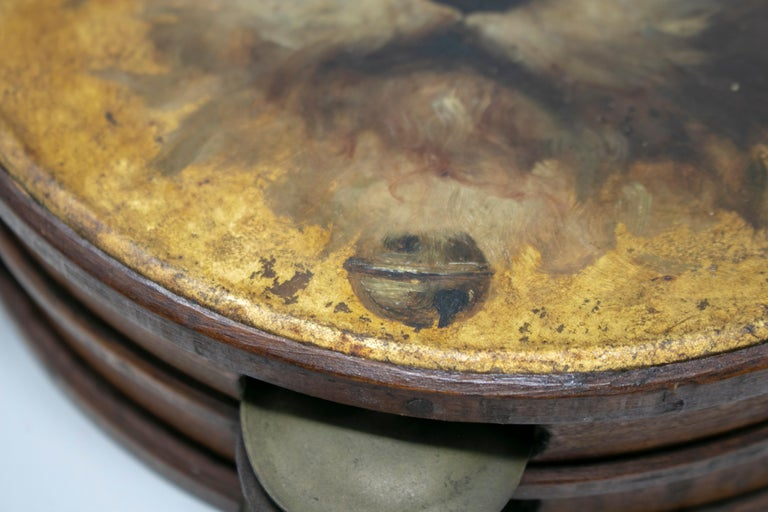 19th Century Spanish Tambourine with Hand Painted Dog Face For Sale 1
