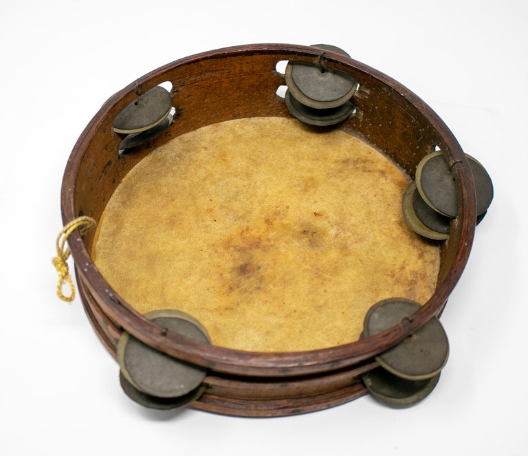19th Century Spanish Tambourine with Hand Painted Dog Face For Sale 3