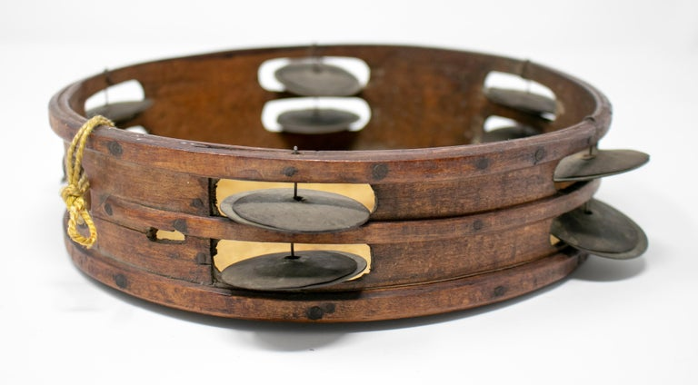 19th Century Spanish Tambourine with Hand Painted Dog Face For Sale 4