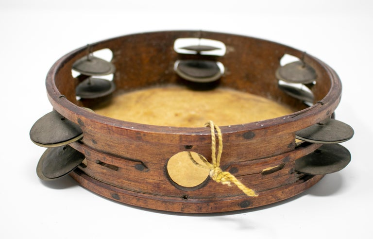 19th Century Spanish Tambourine with Hand Painted Dog Face For Sale 5