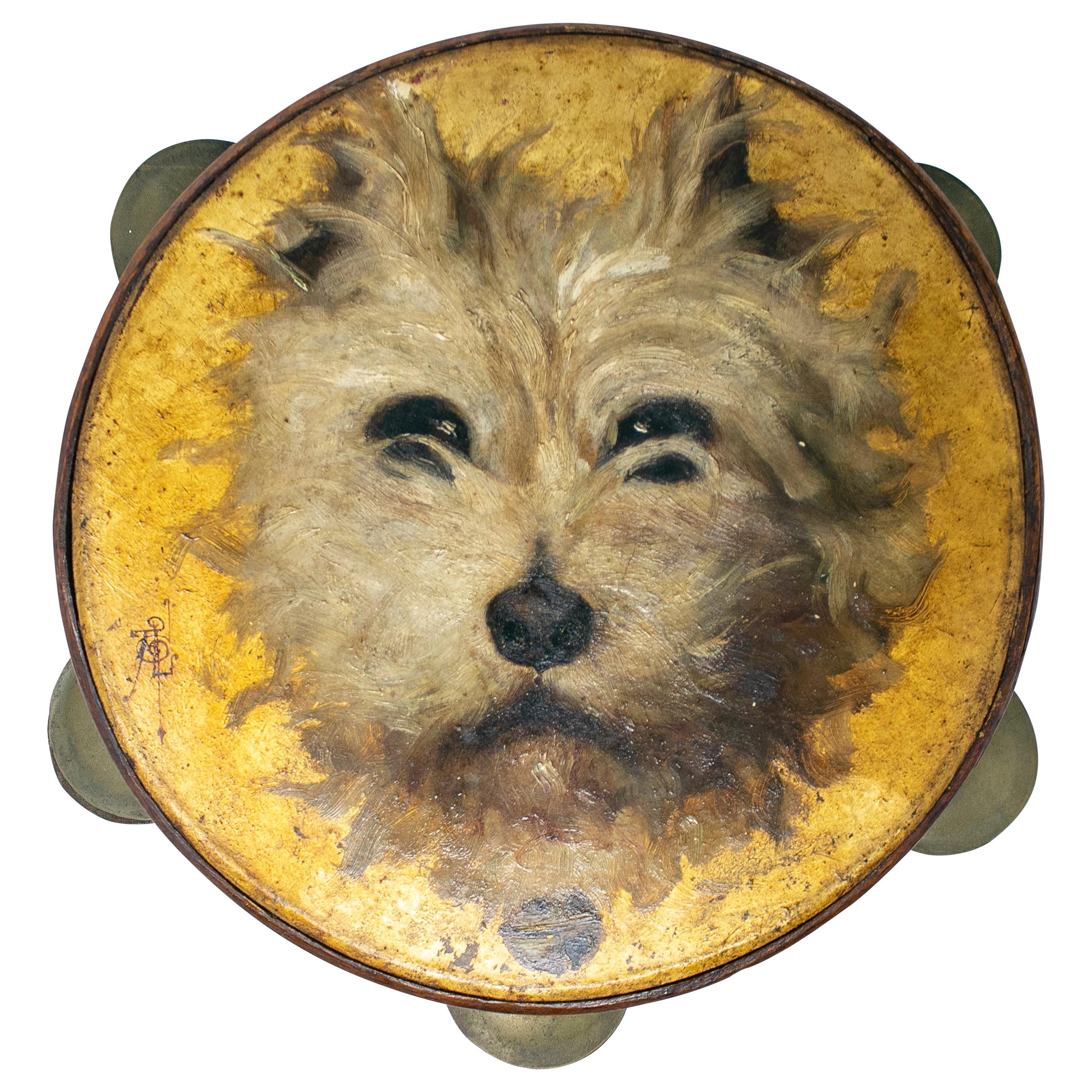 19th Century Spanish Tambourine with Hand Painted Dog Face