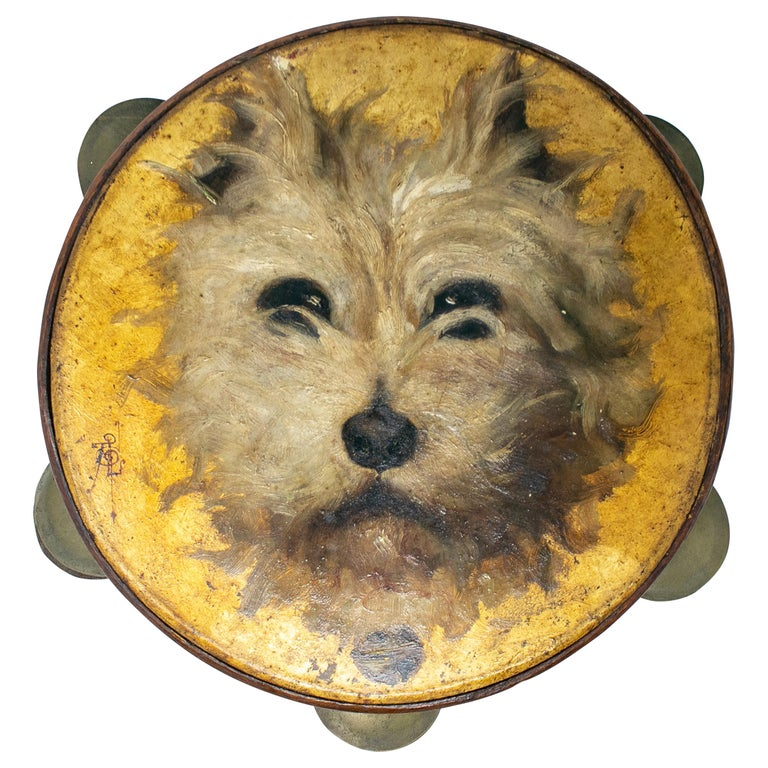 19th Century Spanish Tambourine with Hand Painted Dog Face For Sale