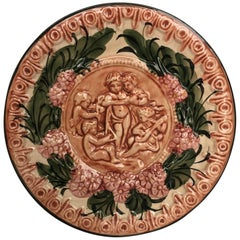 19th Century Spanish Terracotta Relief Dish with Cherubs & Flowers