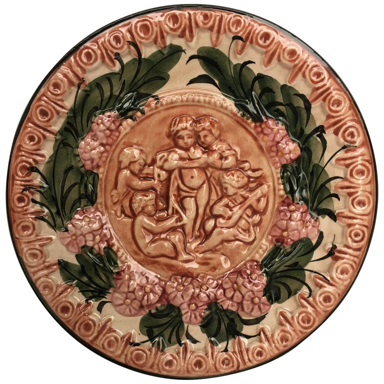 19th Century Spanish Terracotta Relief Dish with Cherubs & Flowers For Sale