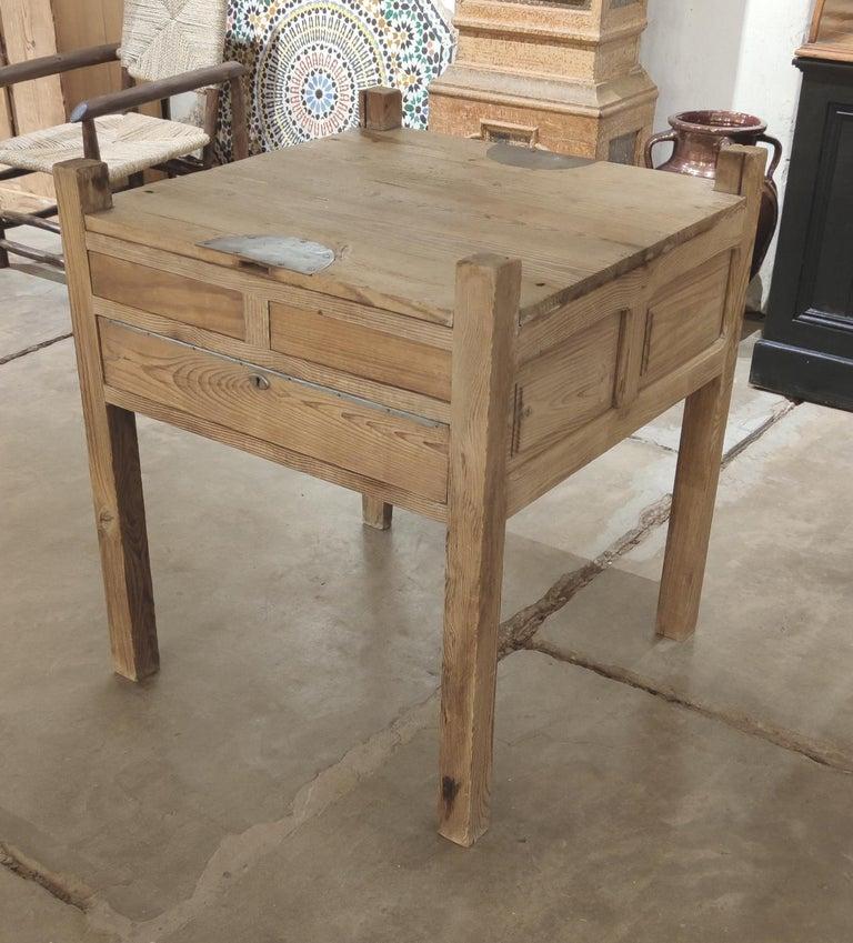 Antique 19th century Spanish three drawer jeweller's wooden workbench table.