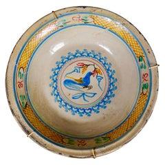 19th Century Spanish Tin Glaze Bowl with Bird Decoration Colorful