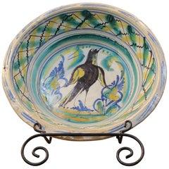 "19th Century Spanish Triana ""Lebrillo"" Ceramic Plate with Painted Bird"