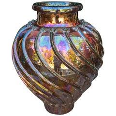 19th Century Spanish Triana Metallic-Glazed Ceramic Vase with Geometric Relief