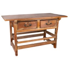 19th Century Spanish Two-Drawer Rustic Table with Iron Handles