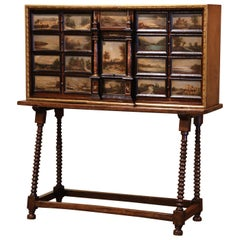 19th Century Spanish Walnut Bargueño on Stand with Hand Painted Landscape Scenes