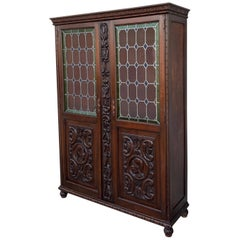 19th Century Spanish Walnut Cabinet or Bookcase with Stained Glass Doors