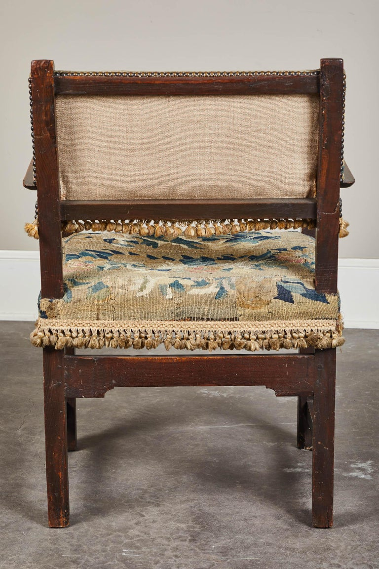 Baroque 19th Century Spanish Walnut Chair with Embroidered Upholstery For Sale