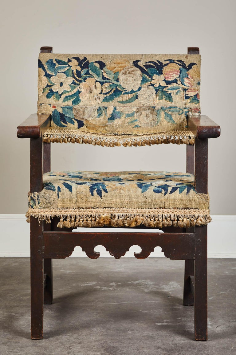 19th Century Spanish Walnut Chair with Embroidered Upholstery For Sale 3