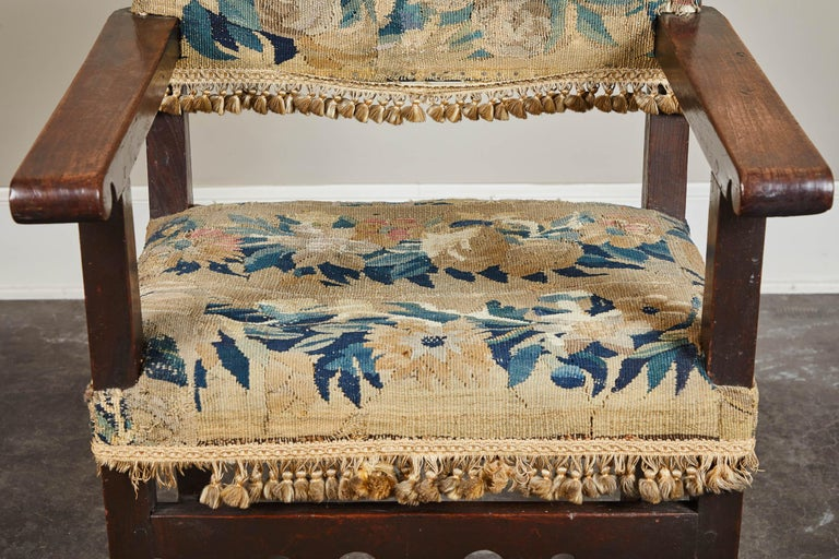 19th Century Spanish Walnut Chair with Embroidered Upholstery For Sale 5