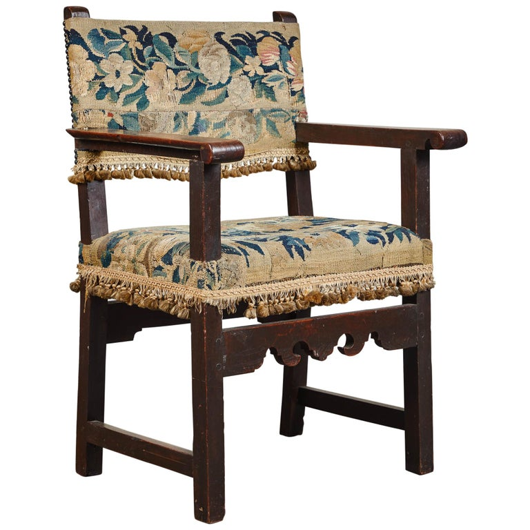 19th Century Spanish Walnut Chair with Embroidered Upholstery For Sale