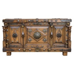 19th Century Spanish Walnut Trunk with Bronze Mounts and Decorative Nails