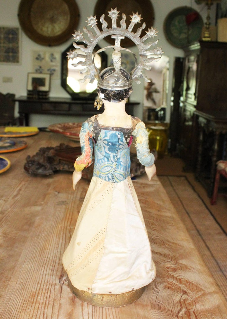 Fabric 19th Century Spanish Wooden Polychrome Virgin Sculpture with Original Clothing For Sale