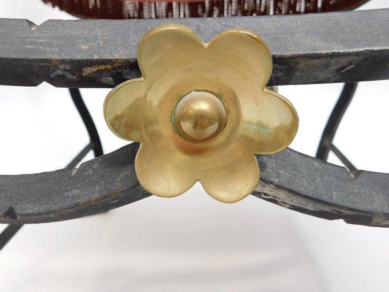19th Century Spanish Wrought Iron and Brass Savonarola Chair For Sale 7