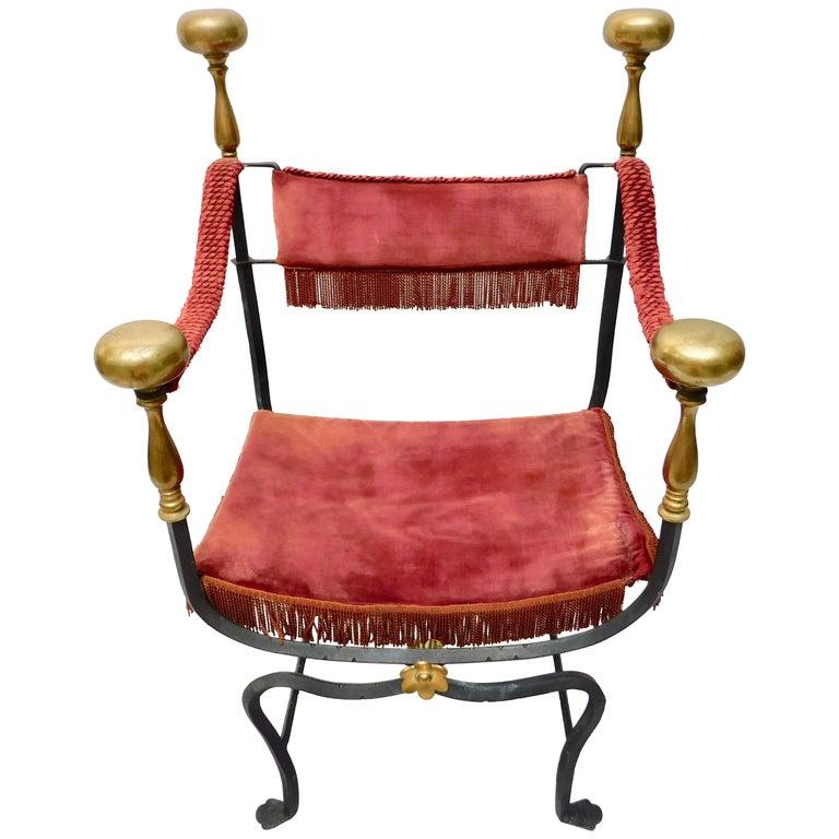 19th Century Spanish Wrought Iron and Brass Savonarola Chair For Sale