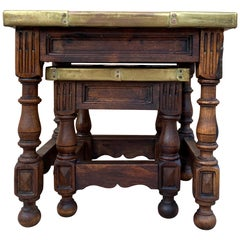 19th Century Spanish Zinc Top Nesting Tables with Turned Legs